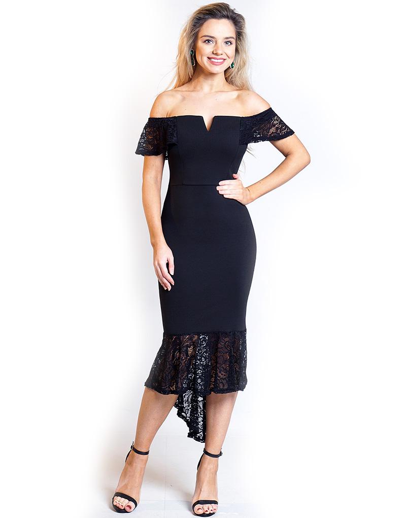 8e8e792b39d3 Svart Mermaid-kjole Med Blonder