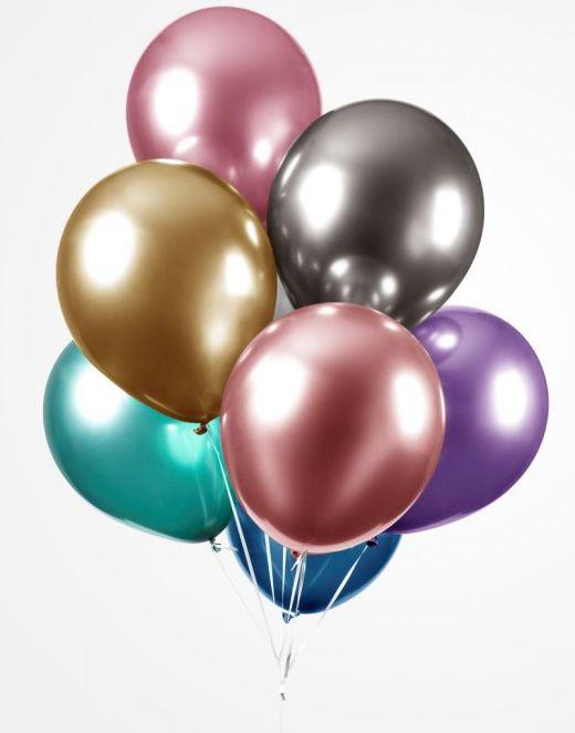 Bilde av 100 Stk 13 Cm Megapack - Små Glossy Ballonger I Forskjellige Farger