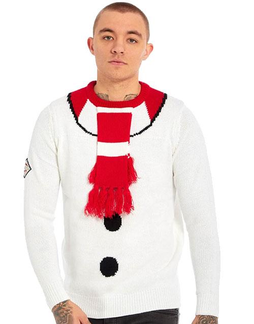 Drunk Snowman Marineblå Strikket Julegenser med Snømann