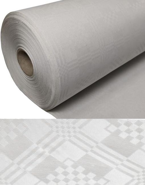 Bilde av 100 Meter Hvit Papirduk På Rull Med Damaskmønster
